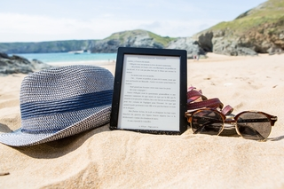 E-reader at beach